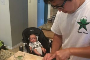 My son watching my husband cook