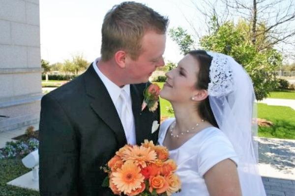 wedding photo with husband and wife