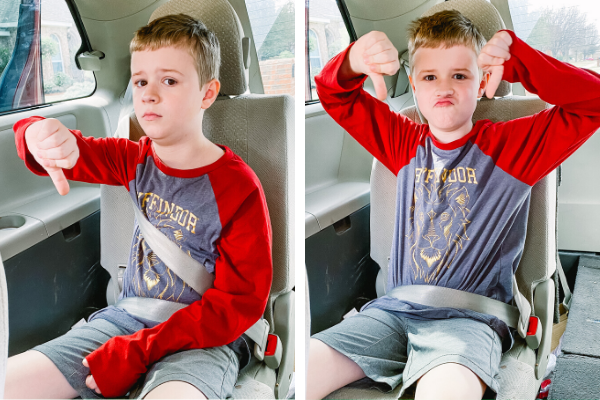 child with ill-fitting seat belt