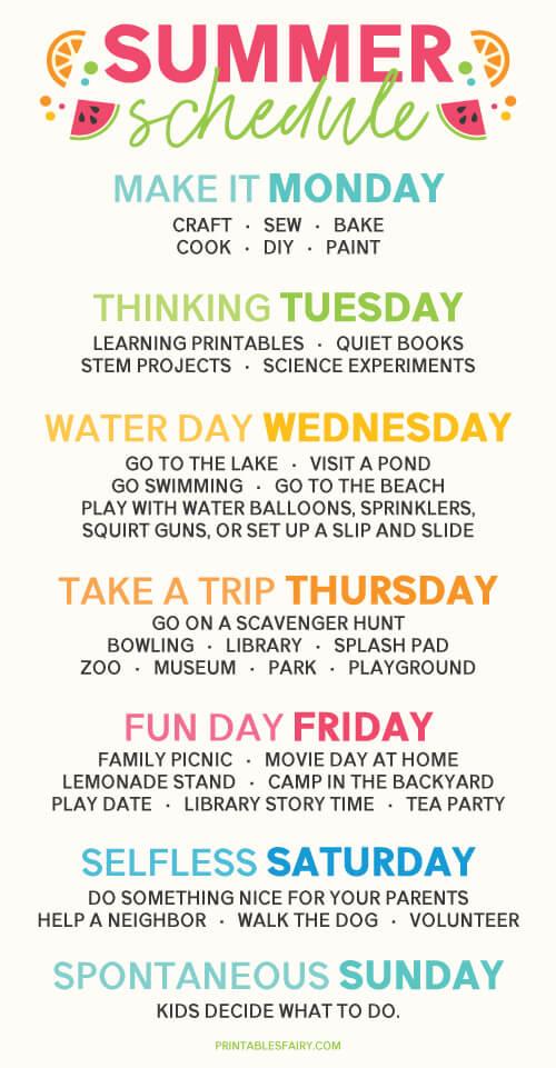 Sumer Schedule for Kids