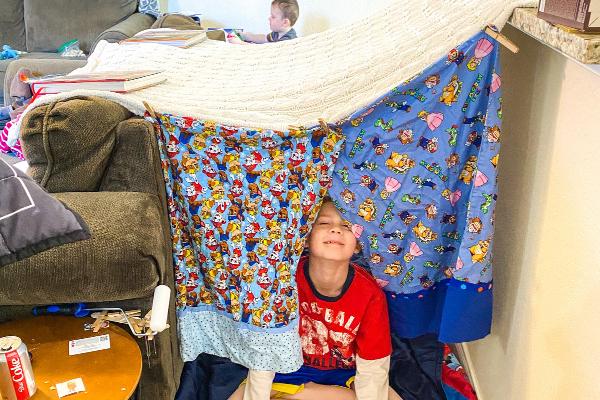 blanket fort in living room
