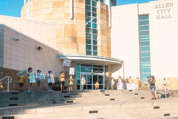 kid-friendly protest at allen city hall