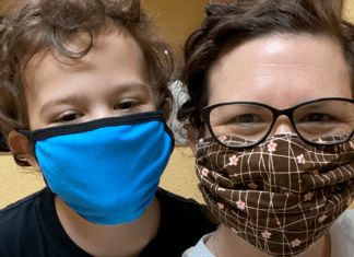 Mom and son wearing masks