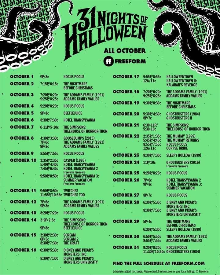31 days of halloween Freeform